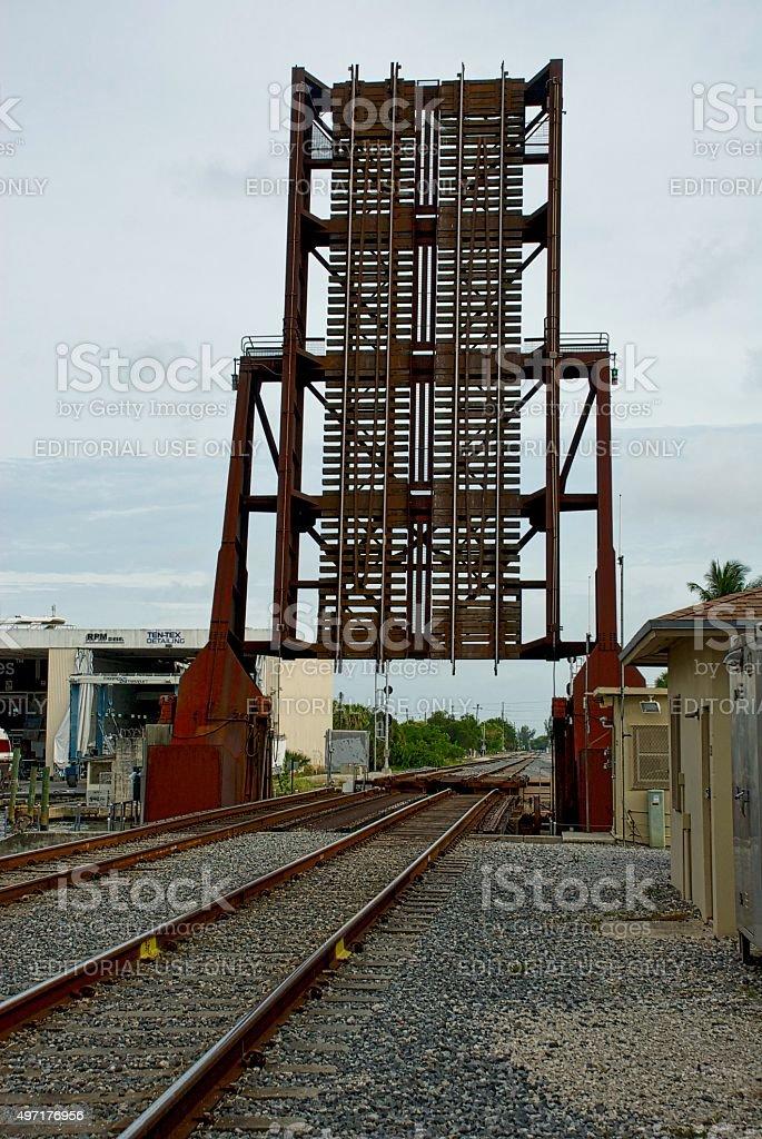 Railroad tracks bridge in open position stock photo