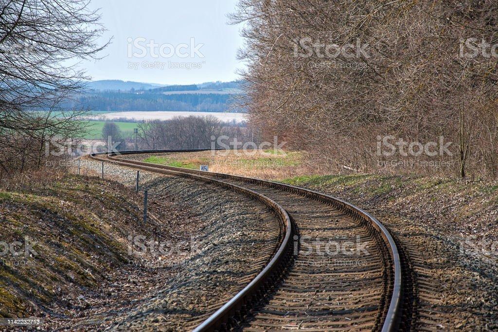 Railroad tracks. Construction of railway tracks. Railway...