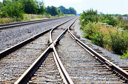 Multiple railroad track converging together in a rural setting
