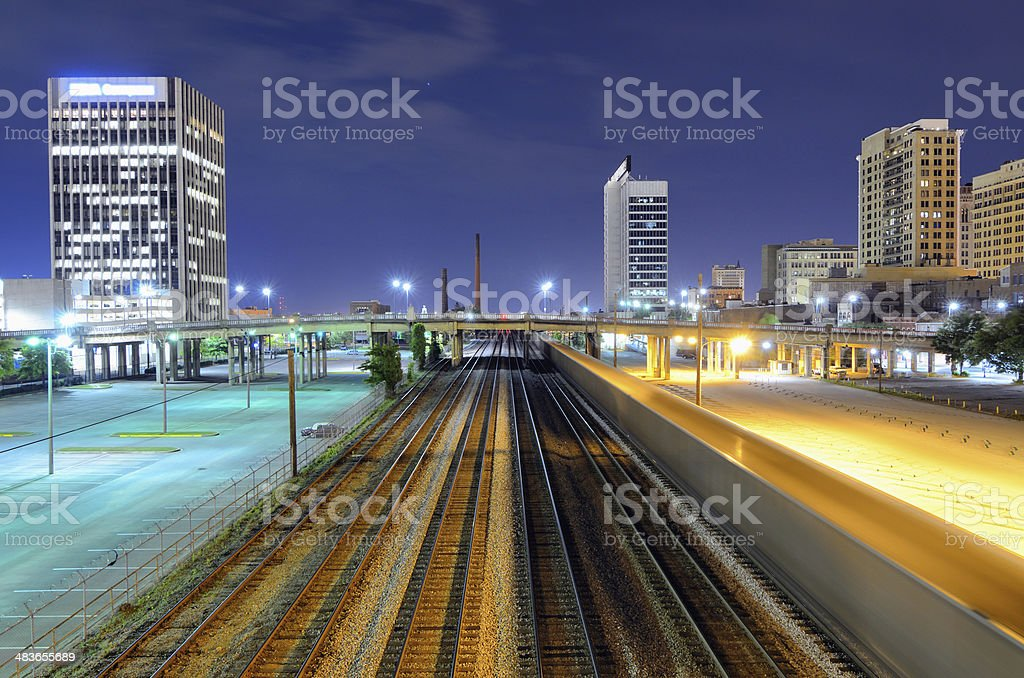 Railroad Tracks in Birmingham, Alabama stock photo