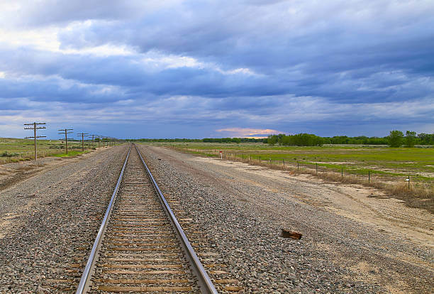 railroad tracks in colorado - great plains stock photos and pictures