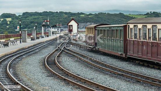 Railroad tracks in Porthmadog, Wales (United Kingdom).