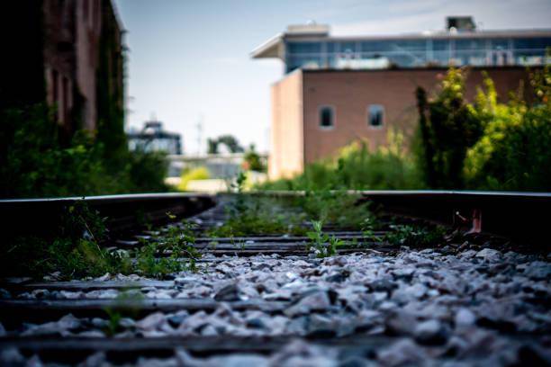 Railroad Tracks in the city stock photo