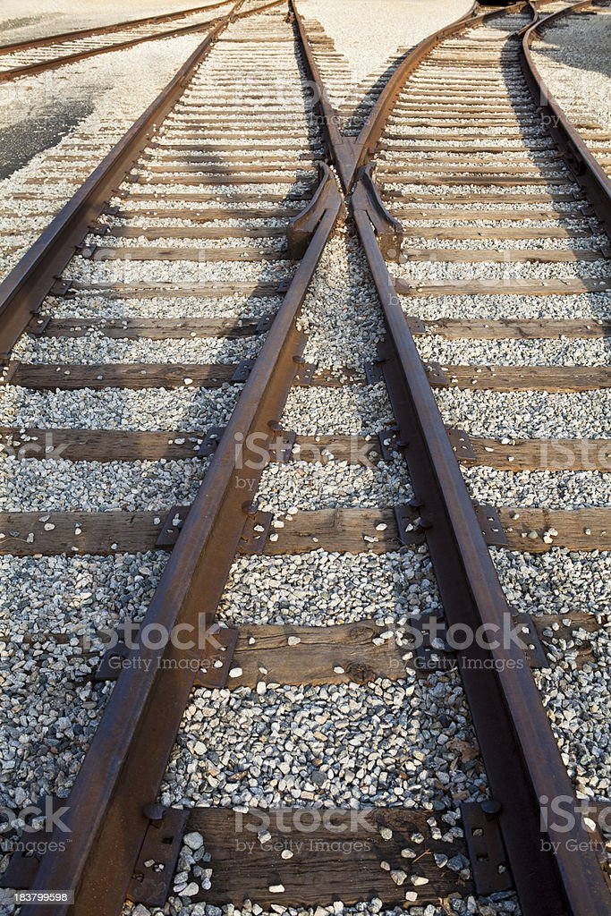Railroad tracks merge and divide. stock photo