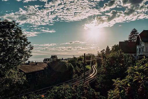 Railroad tracks near Montreux Switzerland