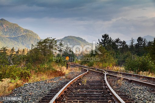 Railroad tracks in Squamish, British Columbia.