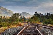 Railroad tracks in Squamish, British Columbia.