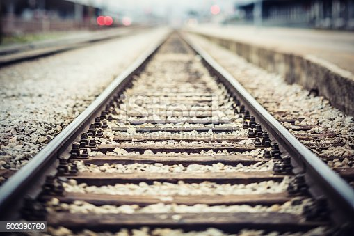 Railroad tracks at train station.