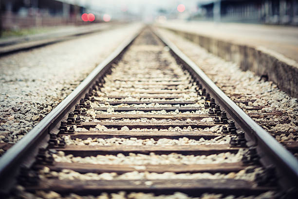 Railroad tracks Railroad tracks at train station. tramway stock pictures, royalty-free photos & images