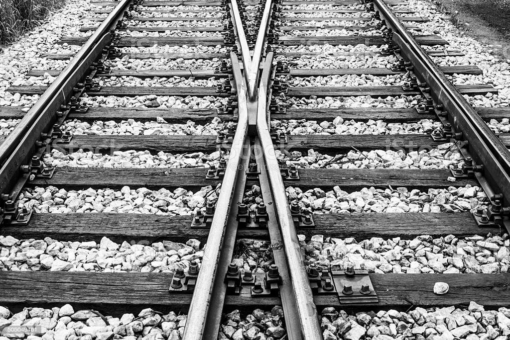 Crossroad of rail tracks.