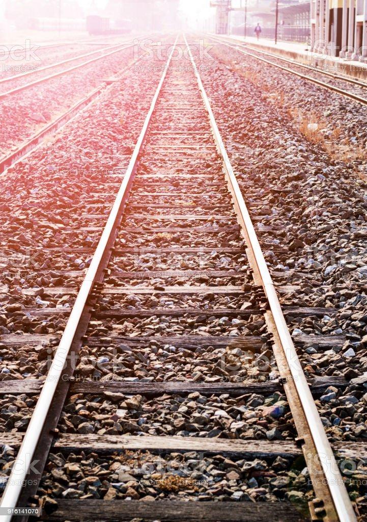 Railroad tracks are shown close up
