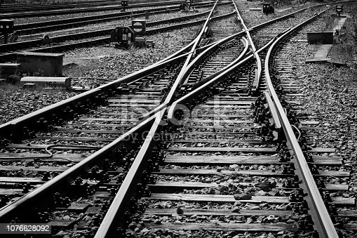 Railroad tracks and switch, black and white