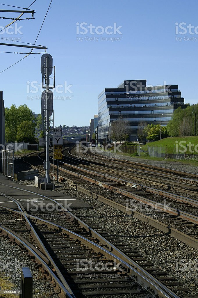 Railroad Tracks through Downtown Seattle royalty-free stock photo