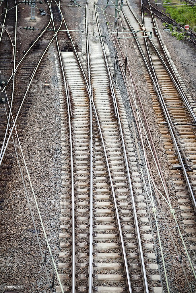 Railroad tracks, view from above royalty-free stock photo