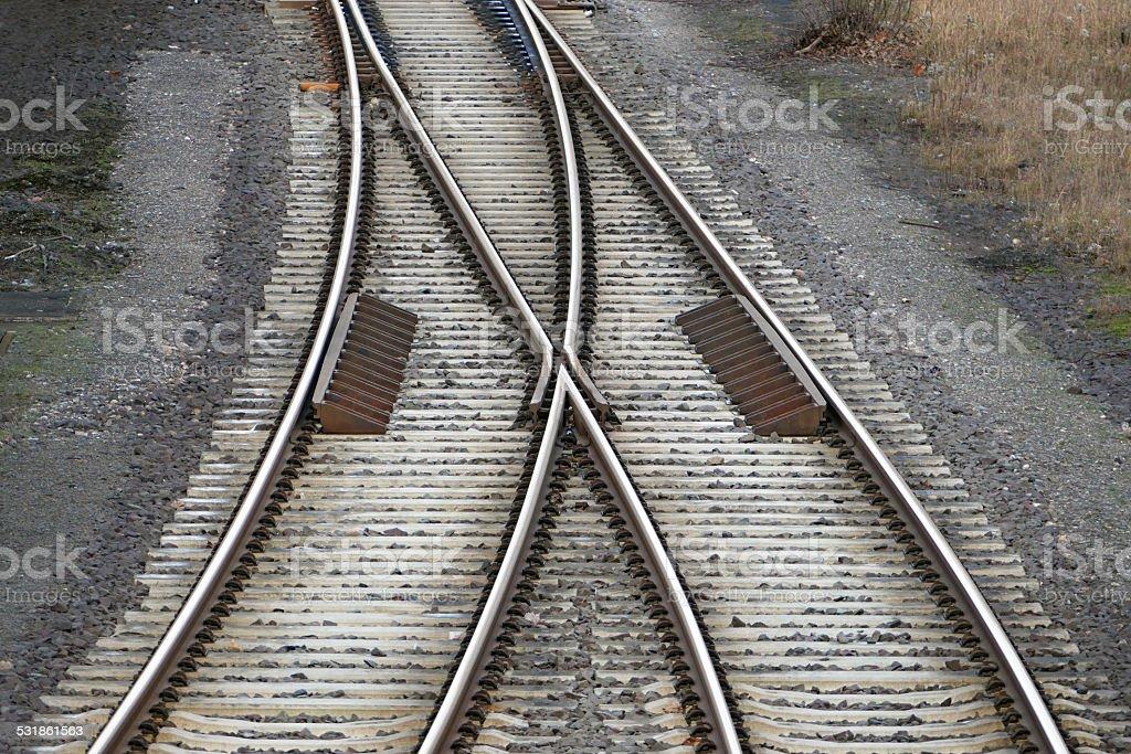 railroad tracks with railroad switch stock photo