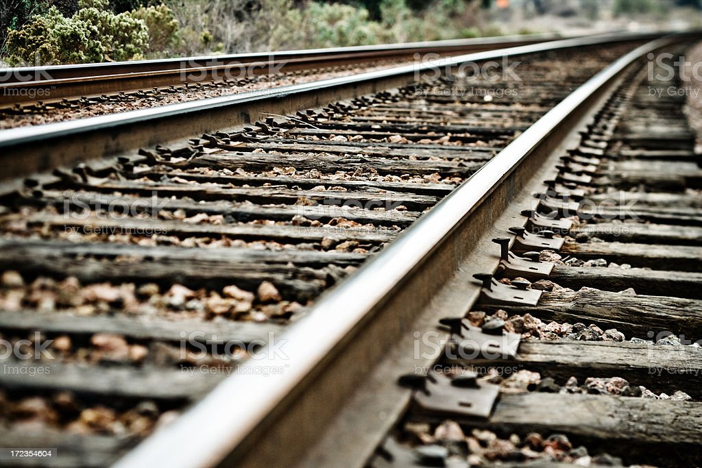 railroad tracks with shallow depth of field royalty-free stock photo