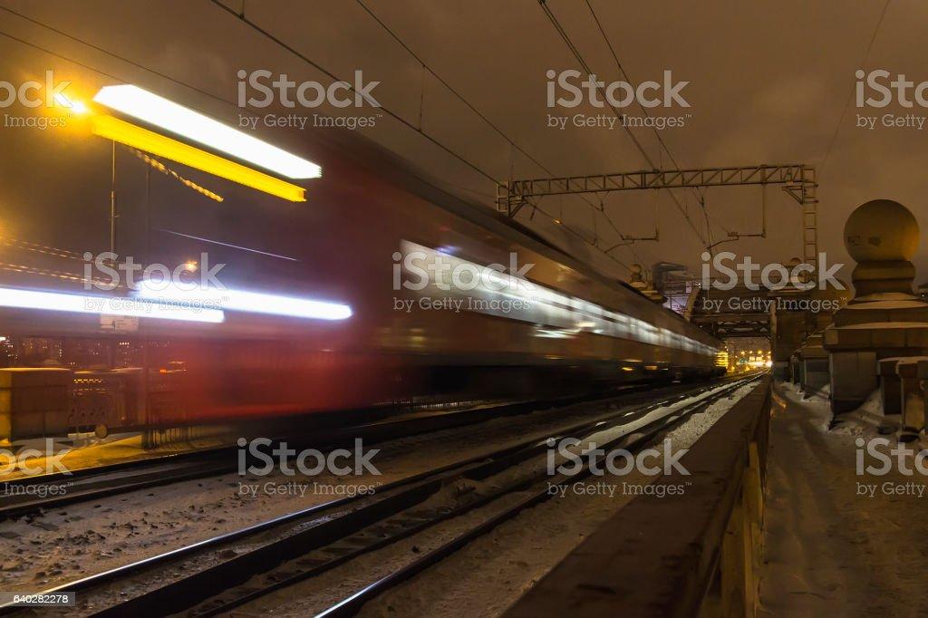 railroad train fast motion stock photo