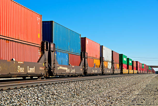 railroad train freight container carriers, palm springs, california - godståg bildbanksfoton och bilder