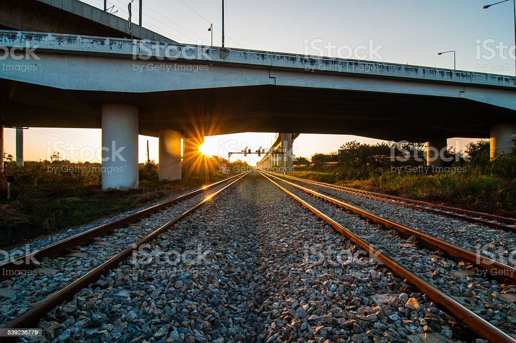 railroad under motorway road. royalty-free stock photo