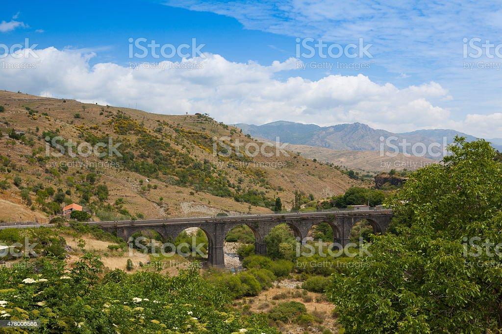 Railroad viaduct in Randazzo, Sicily Railroad viaduct in Randazzo, Sicily, Italy 2015 Stock Photo