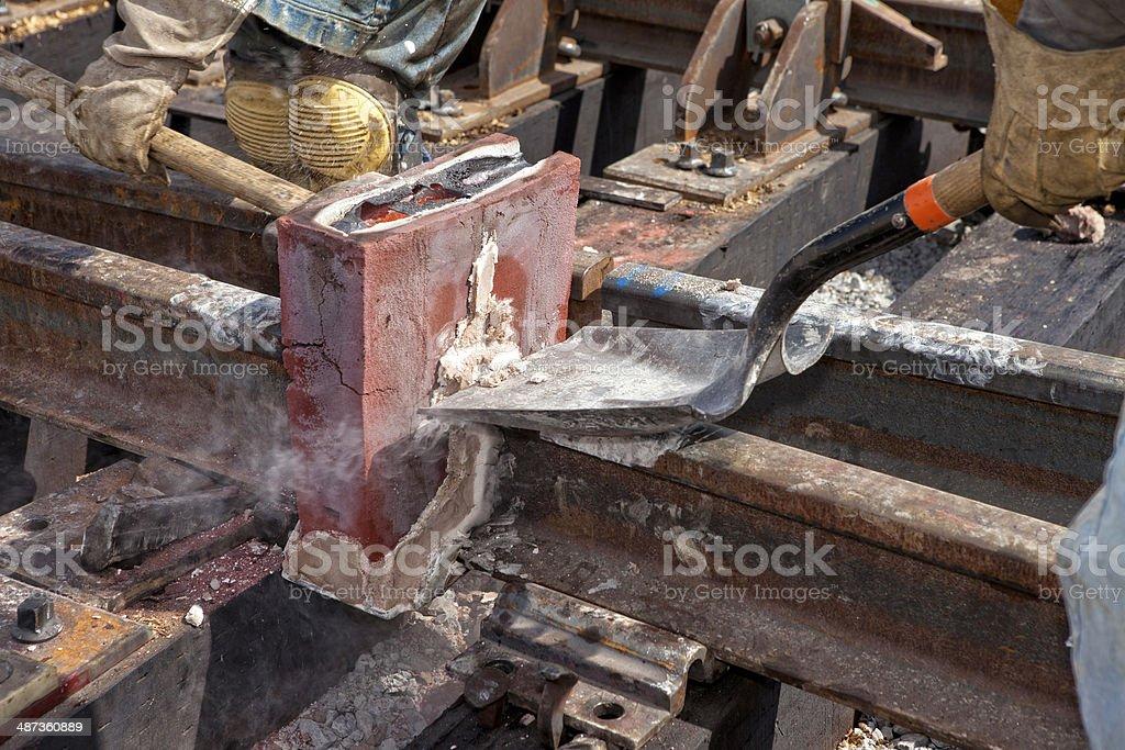 Railroad Welding Process stock photo