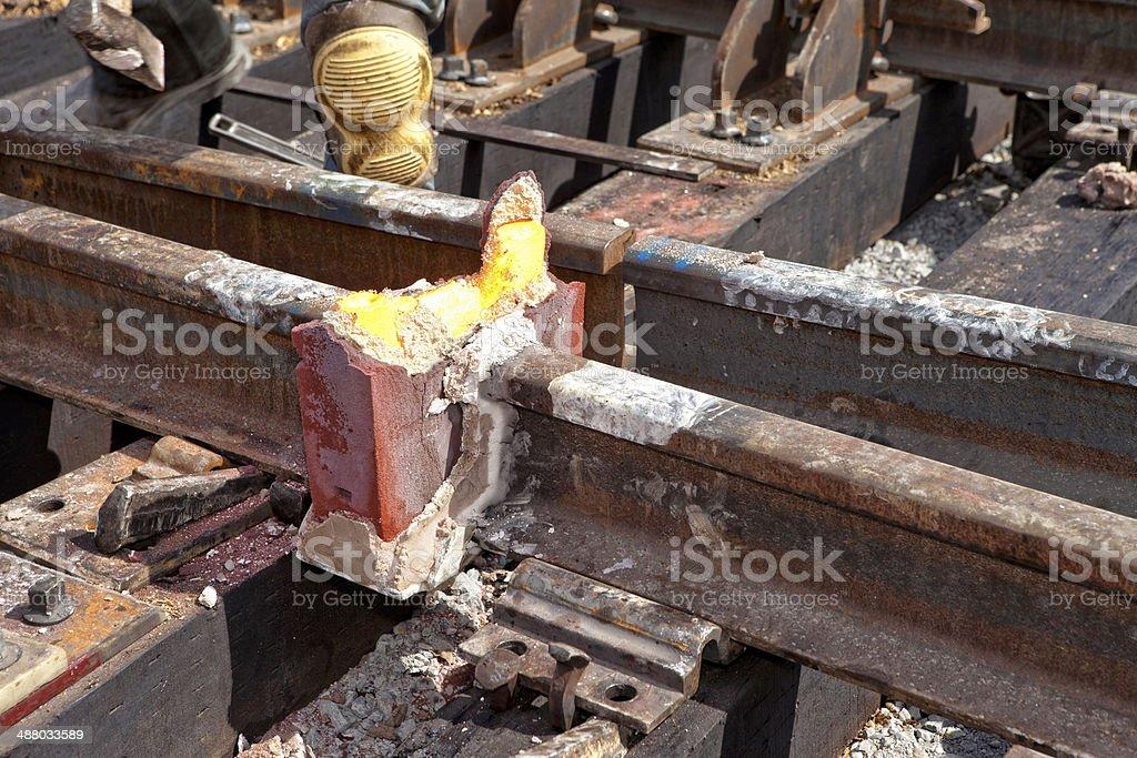 Railroad Welding Process royalty-free stock photo