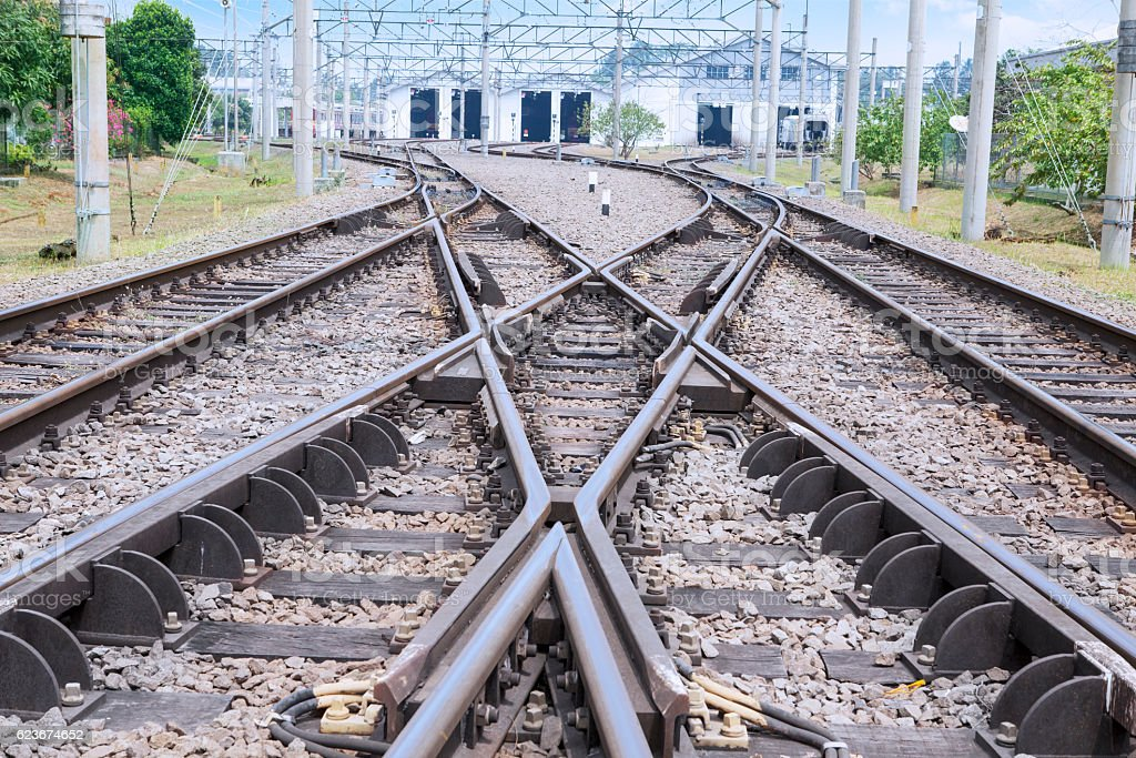 Railroad with switching track stock photo