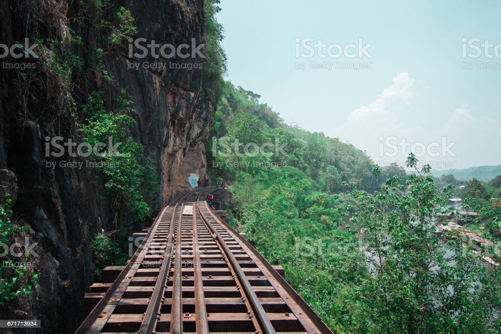 Railroad wood history world war II river kwai, kanchanaburi, thailand stock photo