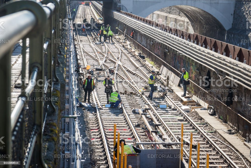 Railroad works stock photo
