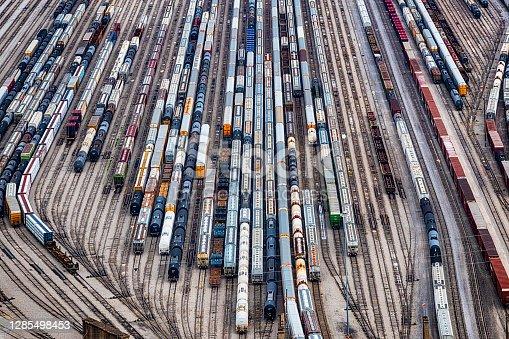 istock Railroad Yard Aerial 1285498453