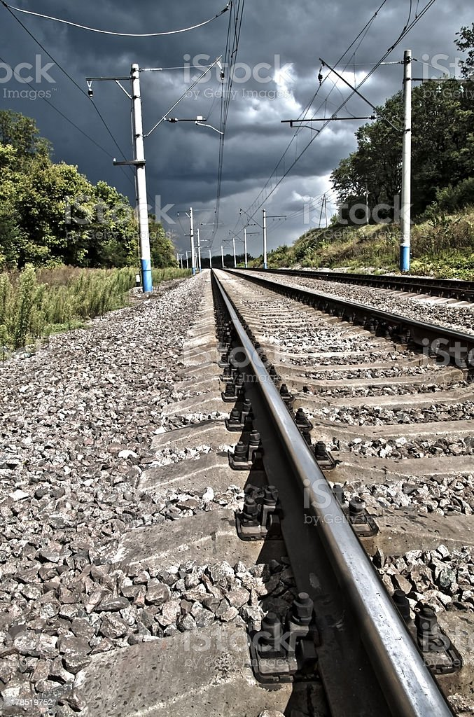 Rails and cross ties royalty-free stock photo