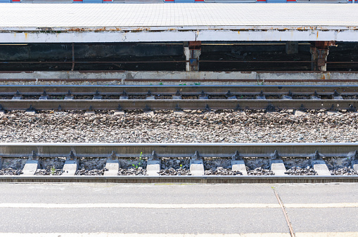 rails and the platform in the summer