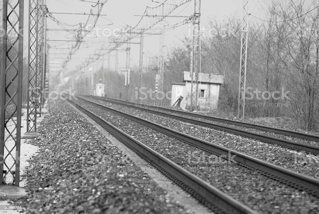 rails in black and white stock photo