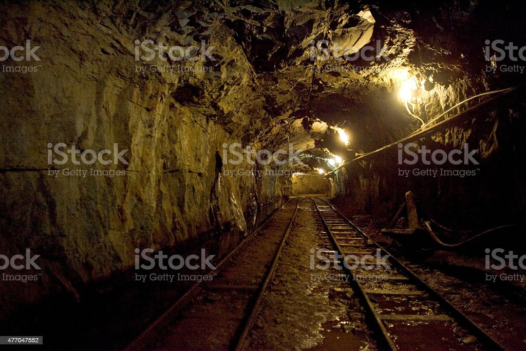Rails in the mine stock photo