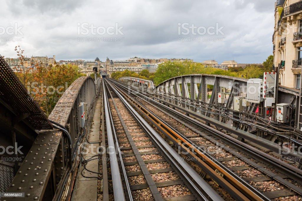 rails on the bridge Bir Hakeim in Paris - Photo