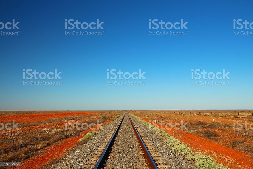 Railway across the desert stock photo