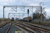 Pole, High Voltage Sign, Railway line, Amperage, Railroad crossing