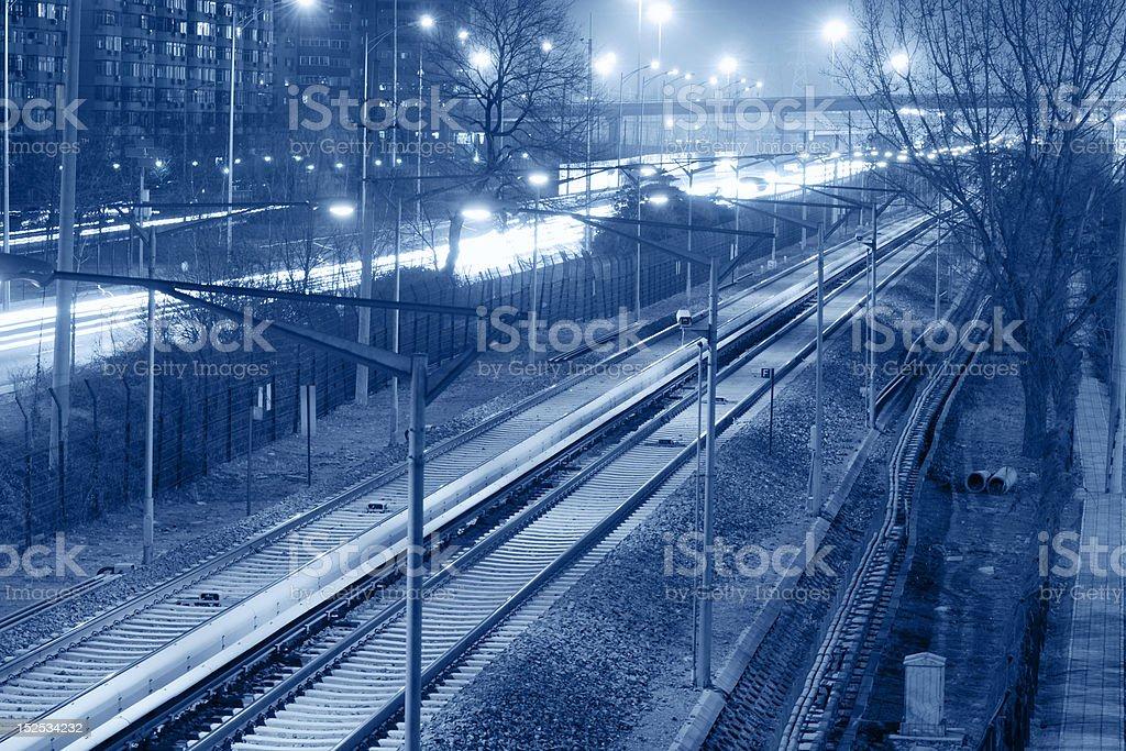 Railway at Night stock photo