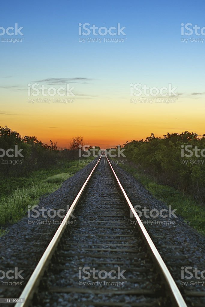 Railway at sunset. Travel concept royalty-free stock photo
