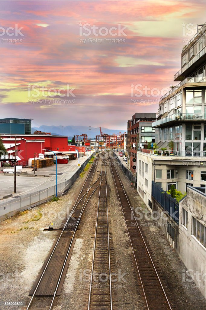 Railway at Waterfront Road, Vancouver. stock photo