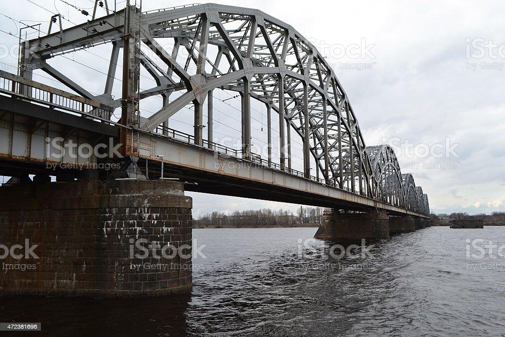 Railway bridge across the Daugava river. stock photo