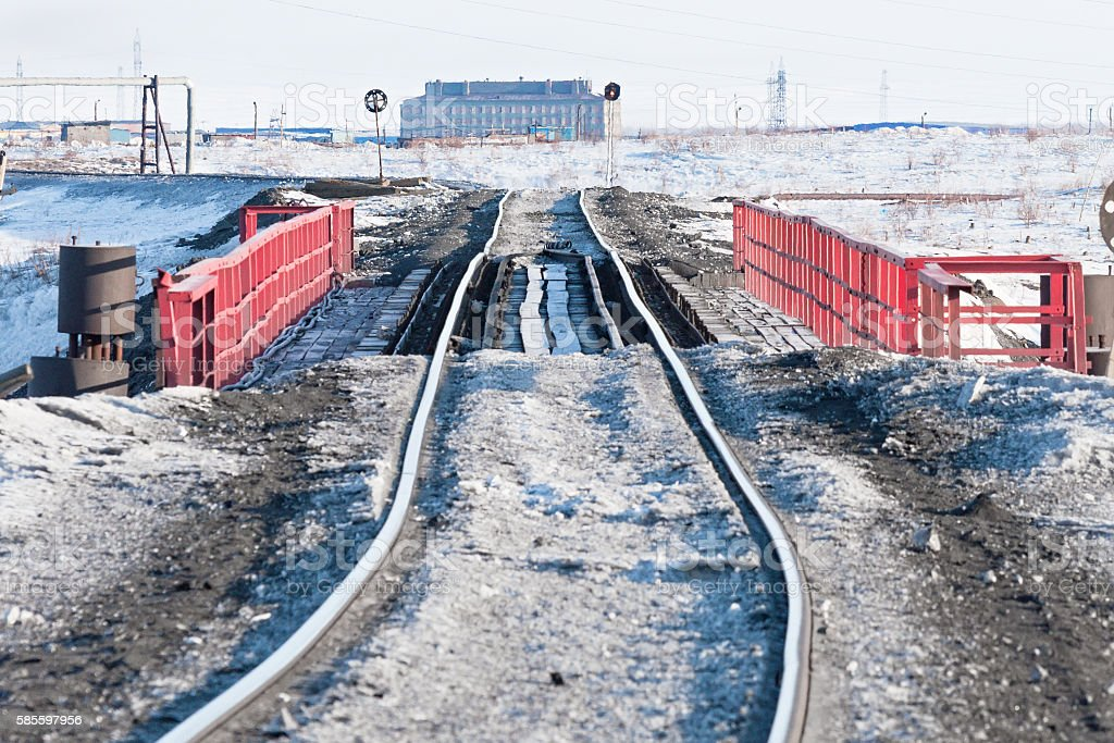 Railway bridge and deformation of the  track, built on - Foto de stock de Aire libre libre de derechos