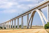 Railway bridge as a huge structure leads through rural region (Burgenlandkreis)