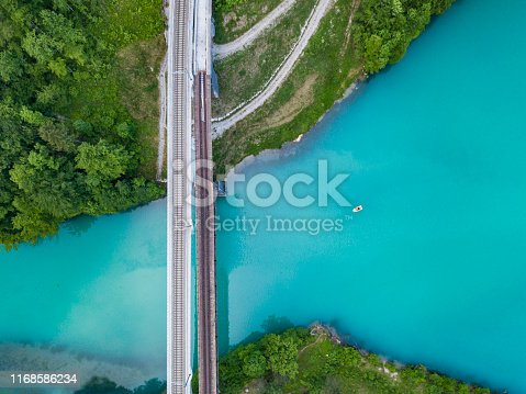 Railway bridge crossing the dammed Steyr river, Austria. The Steyr is a river in the alps of Upper Austria, rising in the Totes Gebirge. There is a huge dam and reservoir near the village of Klaus and the small lake of the dammed river is usually in a deep turquoise color.