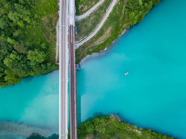 Railway bridge crossing the dammed Steyr river, Austria stock photo