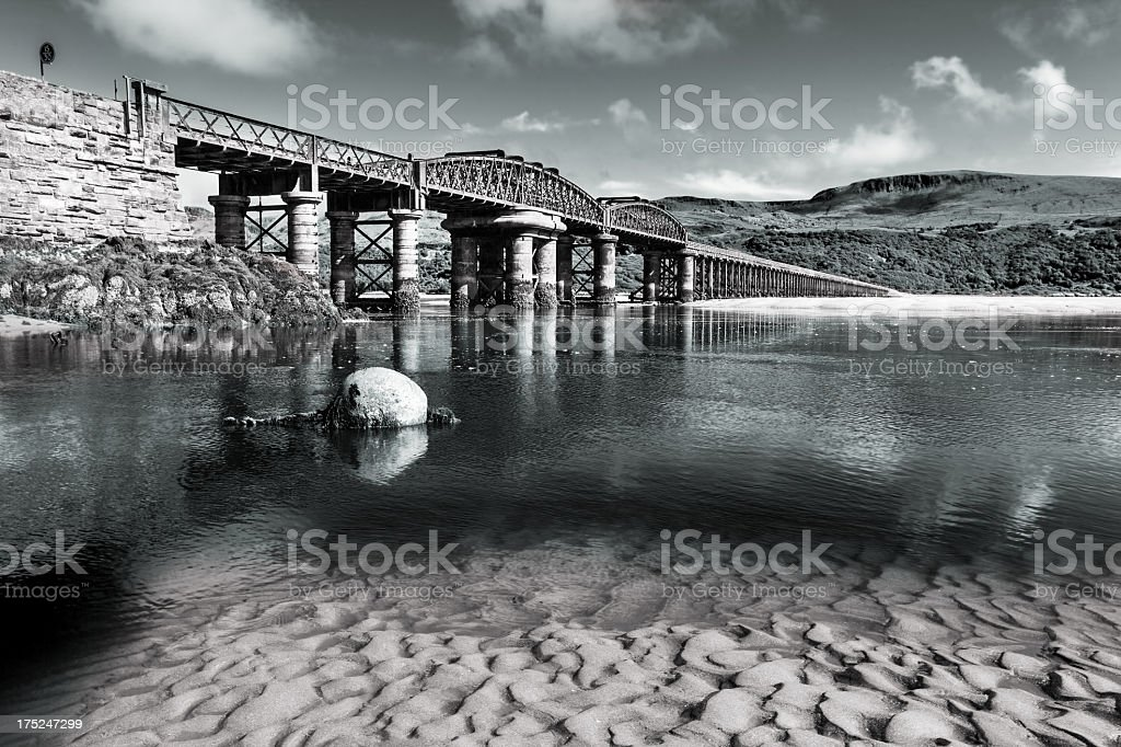 Railway Bridge in Barmouth, Wales royalty-free stock photo