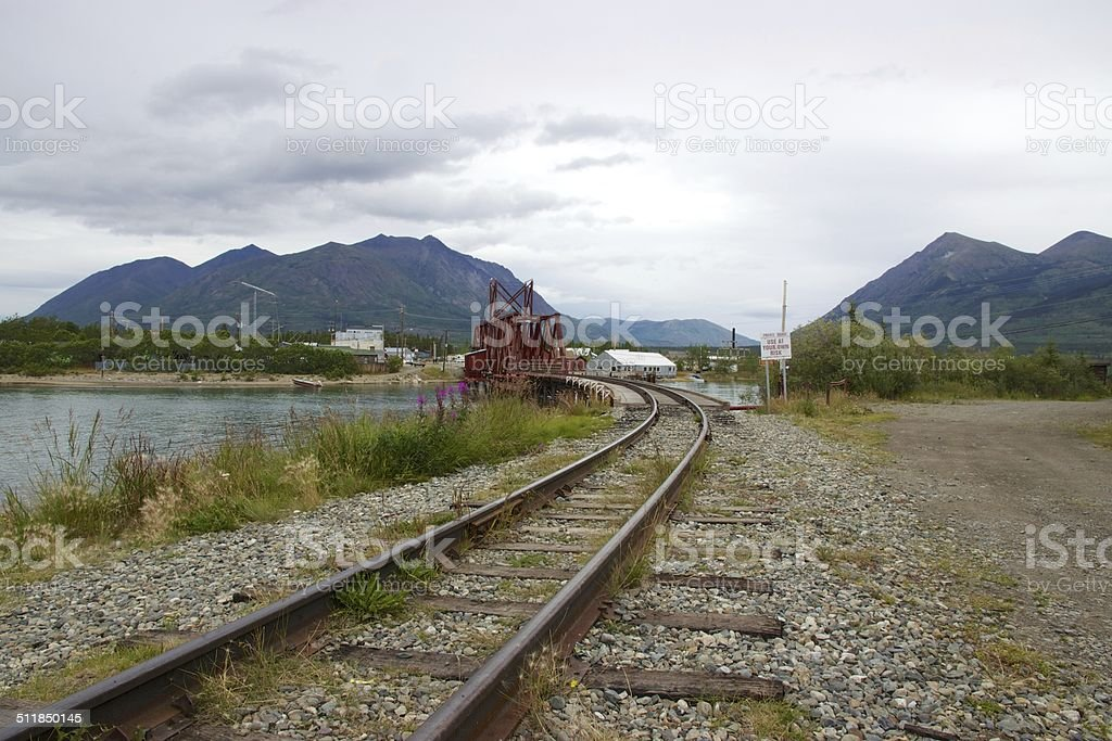 Railway bridge in Carcross, Yukon stock photo