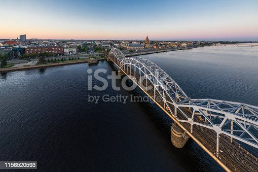 Railway bridge across river Daugava in Riga, Latvia