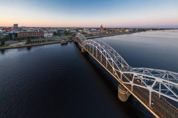 Railway bridge in Riga. stock photo