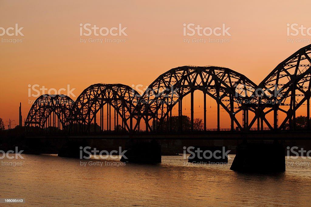 Railway bridge in Riga royalty-free stock photo